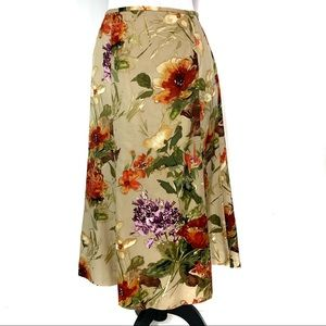 Talbots silk wool blend floral maxi skirt like new